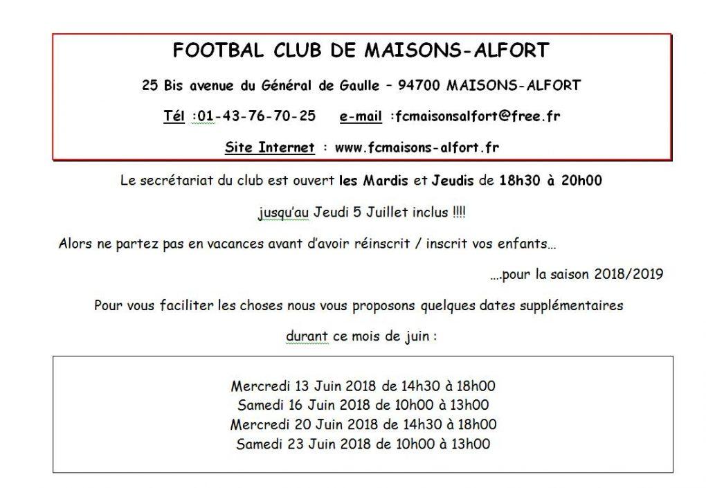 Info Inscriptions Saison 2018 / 2019