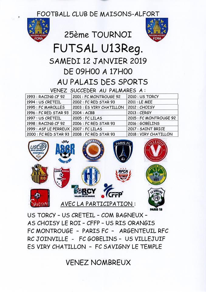 25ème tournoi futsal U13Reg.